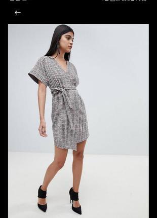 Трендовое платье- кимано в мелкую клетку на запах asos (размер...