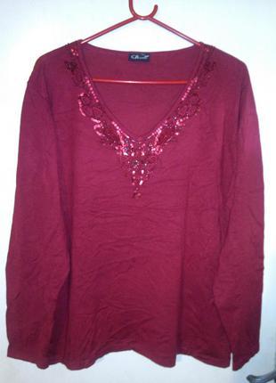 Тёплый,вишнёвый (фото2,3) джемпер-свитер с пайетками,большого ...
