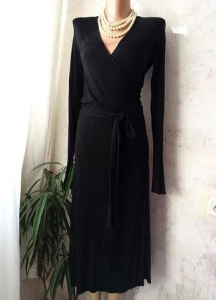 Платье на запах, классика, длинный рукав, вискоза +эластан