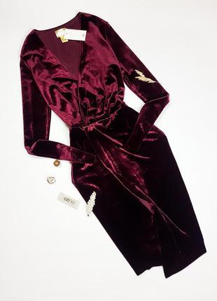 Оксамитова сукня марсала на запах h&m
