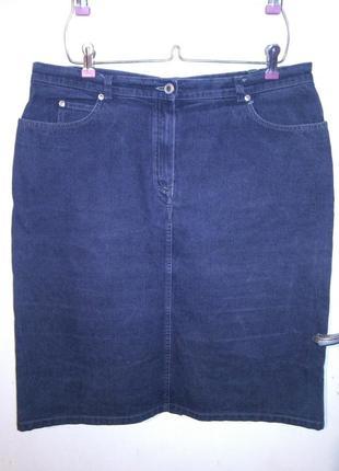 Стрейч-коттон,джинсовая,серая миди юбка с карманами,большого р...