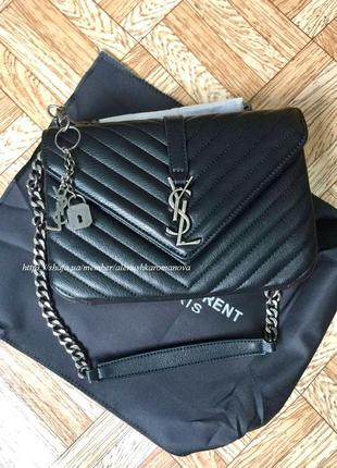 Женская сумка в стиле yves saint laurent ив сен лоран черная