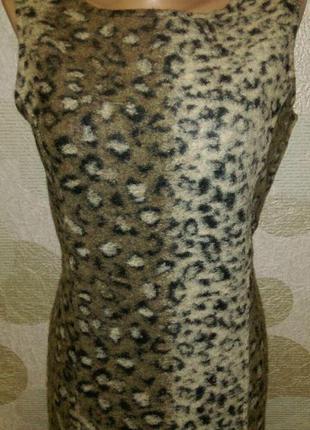 Шерстяное платье сарафан леопардовый принт  дизайнера   cement...