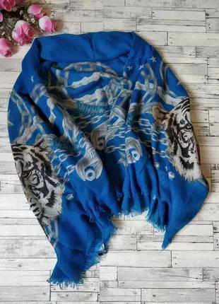 Платок палантин женский синий с тигром