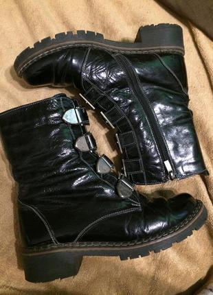 Style лакированные сапоги сапожки ботинки утеплённые