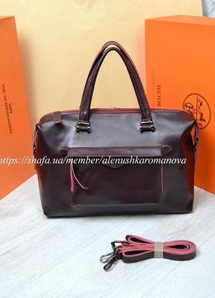 Женская кожаная сумка galanty из натуральной саквояж