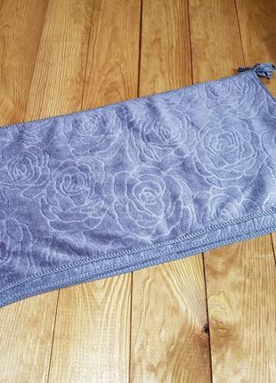 """Кухонное полотенце """"розочки"""" микрофибра 25*48, цвет: серый"""