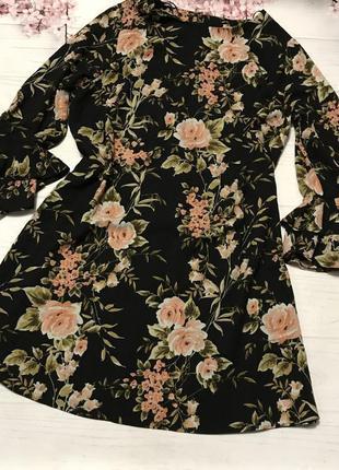 Платье шикарное цветы модное клёш волан  от new look большой р...