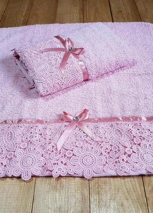 """Полотенце розовое для лица """"кружева"""" 45*88"""