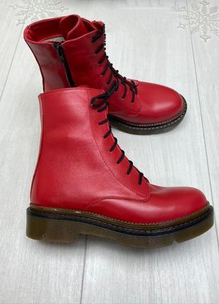 "Красные ботинки ""хард"" зима кожа"