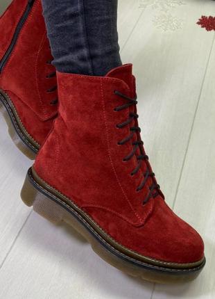 """Зимние ботинки """"хард"""" красный замш"""