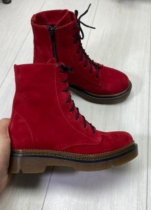 """Ботинки """"хард"""" красный натуральный замш"""