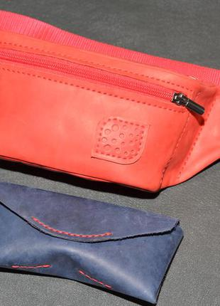 Подарочный набор из натуральной кожи 2 red and blue: сумка бан...