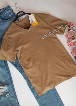 Базовая горчичная футболка слим фит хлопок xs от h&m