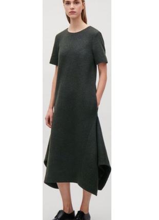 Cos платье миди ассиметричное, втачные клинья, шерсть и хлопок