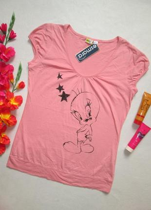 Классная стрейчевая футболка с рисунком твитти 100%  хлопок es...