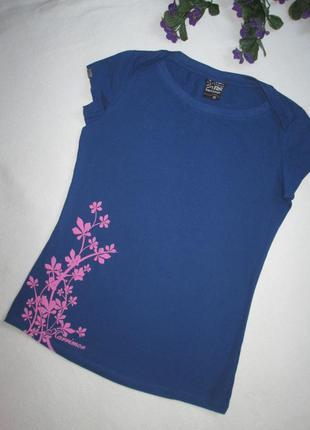 Спортивная стрейчевая трикотажная футболка в цветочный принт k...