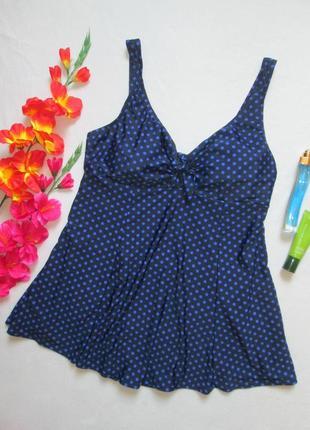 Шикарный сдельный купальник платье синий в горох большого разм...