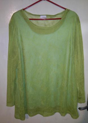 Эффектная,яркая (фото9),трикотажная блуза с маечкой,большого р...