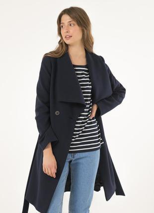 Шерстяное женское пальто season натали-1. темно-синие