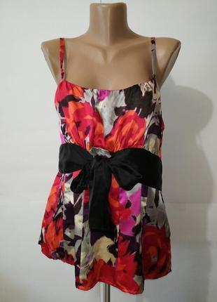 Шелковая блуза майка новая цветочная monsoon uk 14/42/l 100% шелк