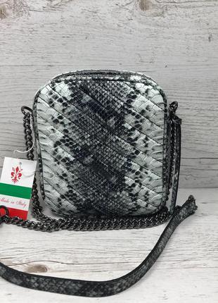 Женская итальянская кожаная сумка под питона жіноча італьянска...