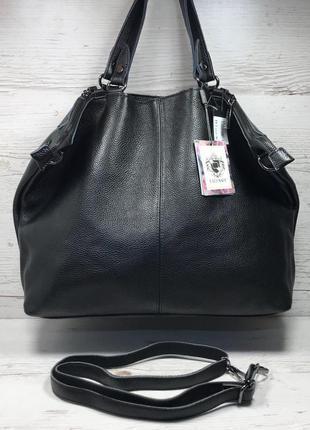 Женская кожаная сумка черная больная жіноча шкіряна сумка чорн...