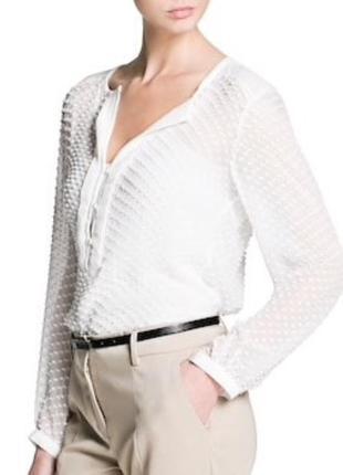Блуза Mango с вышивкой плюмети / L / шёлк, хлопок
