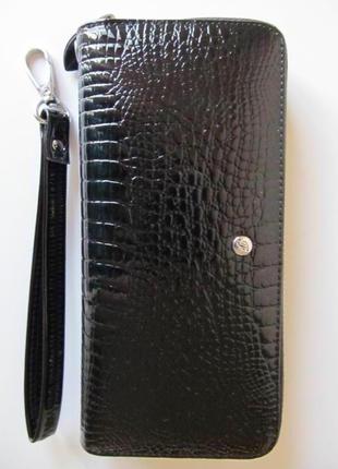Женский кошелек-клатч / натуральная кожа / цвет чёрный