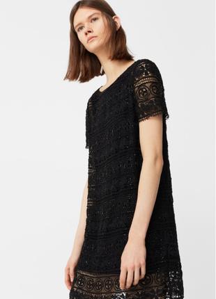 Нарядное кружевное платье с бисером Mango / S