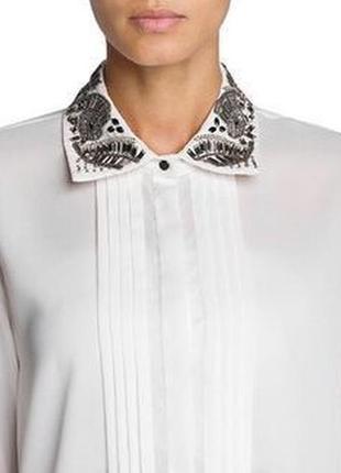 Белая блуза с бисером на воротнике Mango / S