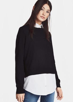 Черный джемпер с белым батистом H&M / XS