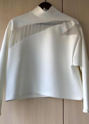 Роскошный белый свитшот ZARA с шифоновыми вставками / M