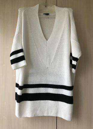 Белый хлопковый свитер, джемпер H&M / L-XXL