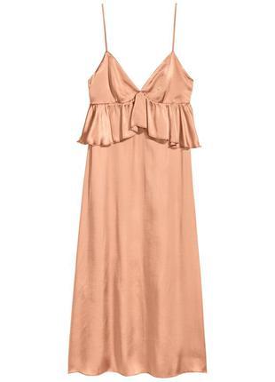 Атласное платье миди H&M / M