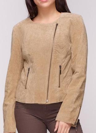 Стильная кожаная куртка Cache Cache, натуральная замша / M-L