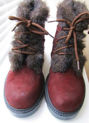 Коричневые замшевые ботинки, утепленные