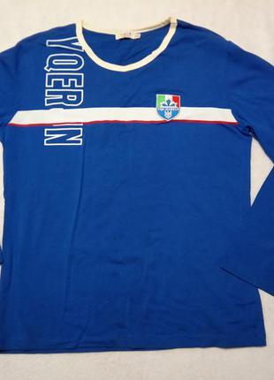 Кофта, реглан, футболка. с надписью, гербом. раз.50  цвет синий.