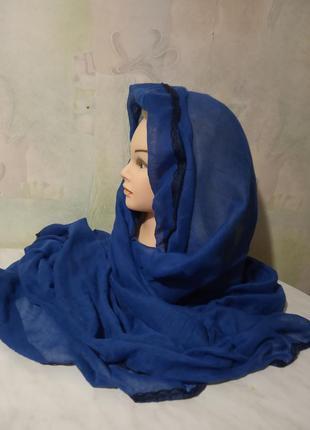 Шикарный, стильный, длинный шарф, парео. цвет синий.