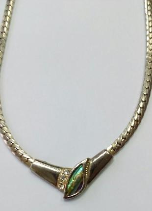 Колье-цепь с красивым плетением, металл под золото. общая длин...