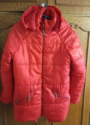 Стеганая, стильная, демисезонная куртка с капюшоном, на синтепоне