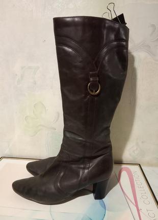 Стильные, брендовые, демисезонные кожаные женские сапоги. брен...