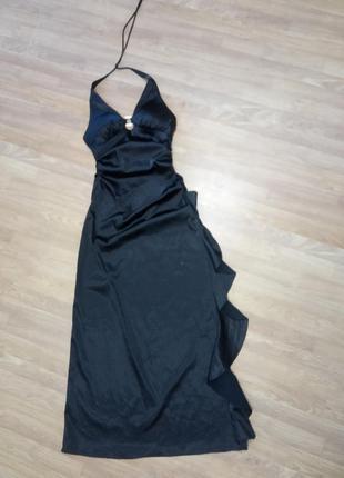 Вечернее, атласное, шикарное, брендовое в пол платье черного ц...