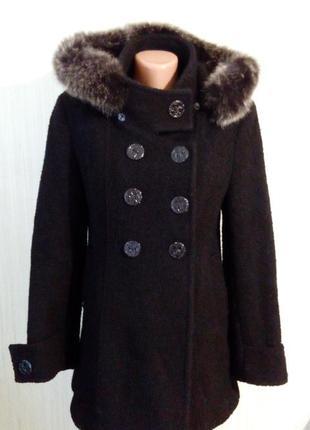 Зимнее, теплое пальто с капюшом с кроличьим мехом, цвет черный...