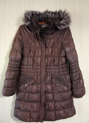 Пуховик, куртка удлиненная с капюшоном