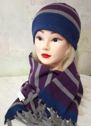 Стильный, молодежный, брендовый комплект, шарф и шапочка от ко...