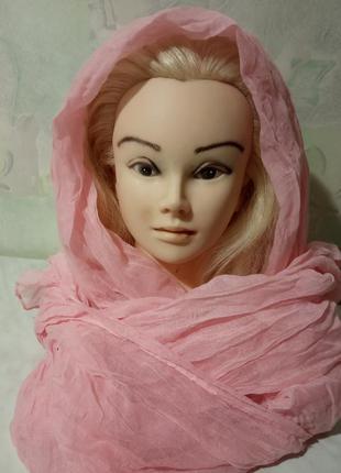 Стильный палантин-шарф, жатка. цвет нежно-розовый. размер 155х195