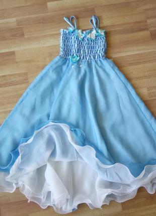 Платье для принцесс голубого цвета, с двойным подъюбником. дли...