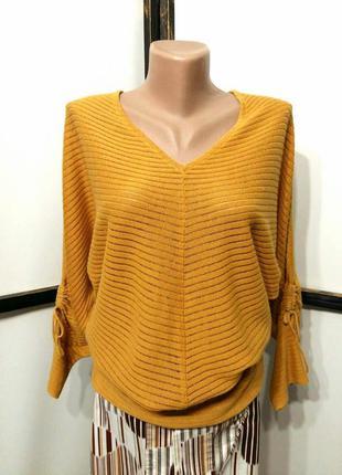 Желтый льняной пуловер джемпер рукав летучая мышь бренд vila c...