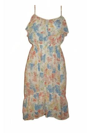 Летнее шифоновое платье сарафан асимметрия, воланы цветочный п...